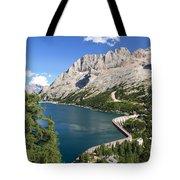 Fedaia Pass With Lake Tote Bag