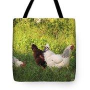 Feeding Chickens Tote Bag