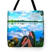 Feet Up Fishing Crab Orchard Lake Tote Bag