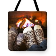Feet Warming By Fireplace Tote Bag