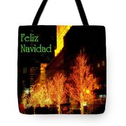 Feliz Navidad - Merry Christmas In New York - Trees And Star Holiday And Christmas Card Tote Bag