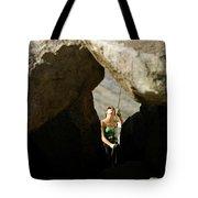 Female Belaying Between Rocks Tote Bag