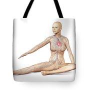 Female Body Sitting In Dynamic Posture Tote Bag