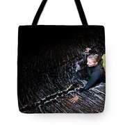 Female Canyoner Wading Through A Pool Tote Bag