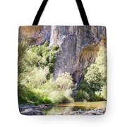 Female Climber, On A Beautiful Route Tote Bag