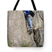 female climber on Via Ferrata Tote Bag