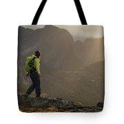 Female Hiker On Summit Of Tverrfjellet Tote Bag
