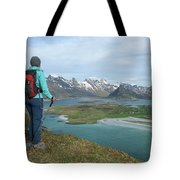 Female Hiker With Over Yttersand Beach Tote Bag