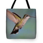 Female Magnificent Hummingbird At Flower Tote Bag