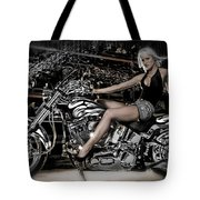 Female Model With A Motorcycle Tote Bag