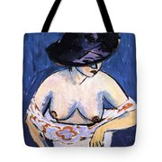 Female Nude With Hat Tote Bag
