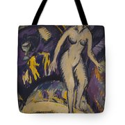 Female Nude With Hot Tub Tote Bag by Ernst Ludwig Kirchner