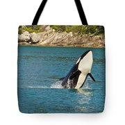 Female Orca Cheval Island Alaska Tote Bag by Michael Rogers