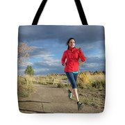 Female Runner In Colorado Tote Bag