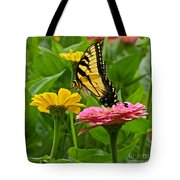 Female Tiger Swallowtail Butterfly With Pink And Yellow Zinnias Tote Bag