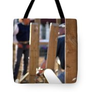 Fence And Cowboy 17525 Tote Bag