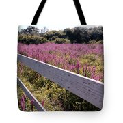 Fence And Purple Wild Flowers Tote Bag