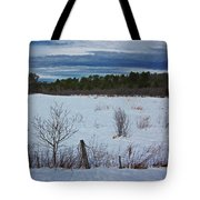 Fence And Snowy Field Tote Bag