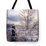 Fence And Tree Frozen In Ice Tote Bag
