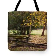 Fence And Tree In Autumn Tote Bag