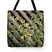 Fence Lined Wildflowers Tote Bag