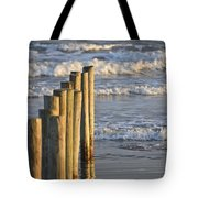 Fence Posts Into The Sea Tote Bag