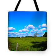 Fence Row And Clouds Tote Bag