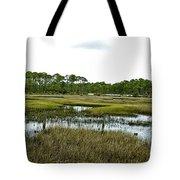 Fence Thru The Marsh Tote Bag