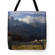 Fence With A Mountain Range Tote Bag