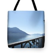 Fence With Street Lamp Tote Bag
