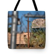Fenced In  Abandoned 1950's Motel Trailer Tote Bag