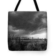 Fenced In - Western Oklahoma Scene In Black And White Tote Bag