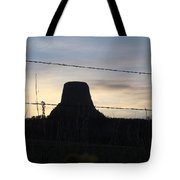 Fencing Devil's Tower Tote Bag