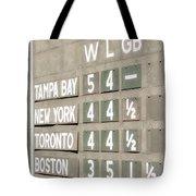 Fenway Park Al East Scoreboard Standings Tote Bag