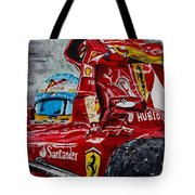 Fernando Alonso And Ferrari F10 Tote Bag
