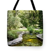 Fernwood Botanical Garden Frog Pond With Bench Niles Michigan Us Tote Bag