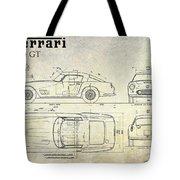 Ferrari 250 Gt Blueprint Antique Tote Bag
