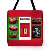 Ferrari Collage On Italian Flag Tote Bag