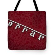 Ferrari Emblem In The Rain Tote Bag