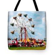 Ferris Wheel Against Blue Sky Tote Bag