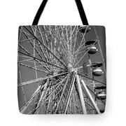 Ferris Wheel In Black And White Tote Bag