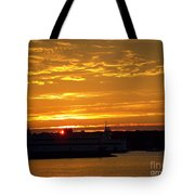 Ferry At Sunset Tote Bag