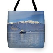 Ferry Boat On An Alpine Lake Tote Bag