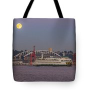 Ferry Under A Full Moon Tote Bag
