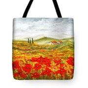 Field Of Dreams - Poppy Field Paintings Tote Bag