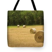 Field Of Freshly Baled Round Hay Bales Tote Bag by James BO  Insogna