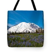 Field Of Lupines And Rainier Tote Bag