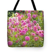 Field Of Pink Dahlias Tote Bag