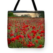 Field Of Poppies At The Lake Tote Bag
