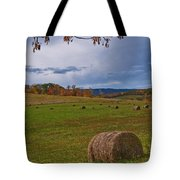 Field Of Round Bales Tote Bag